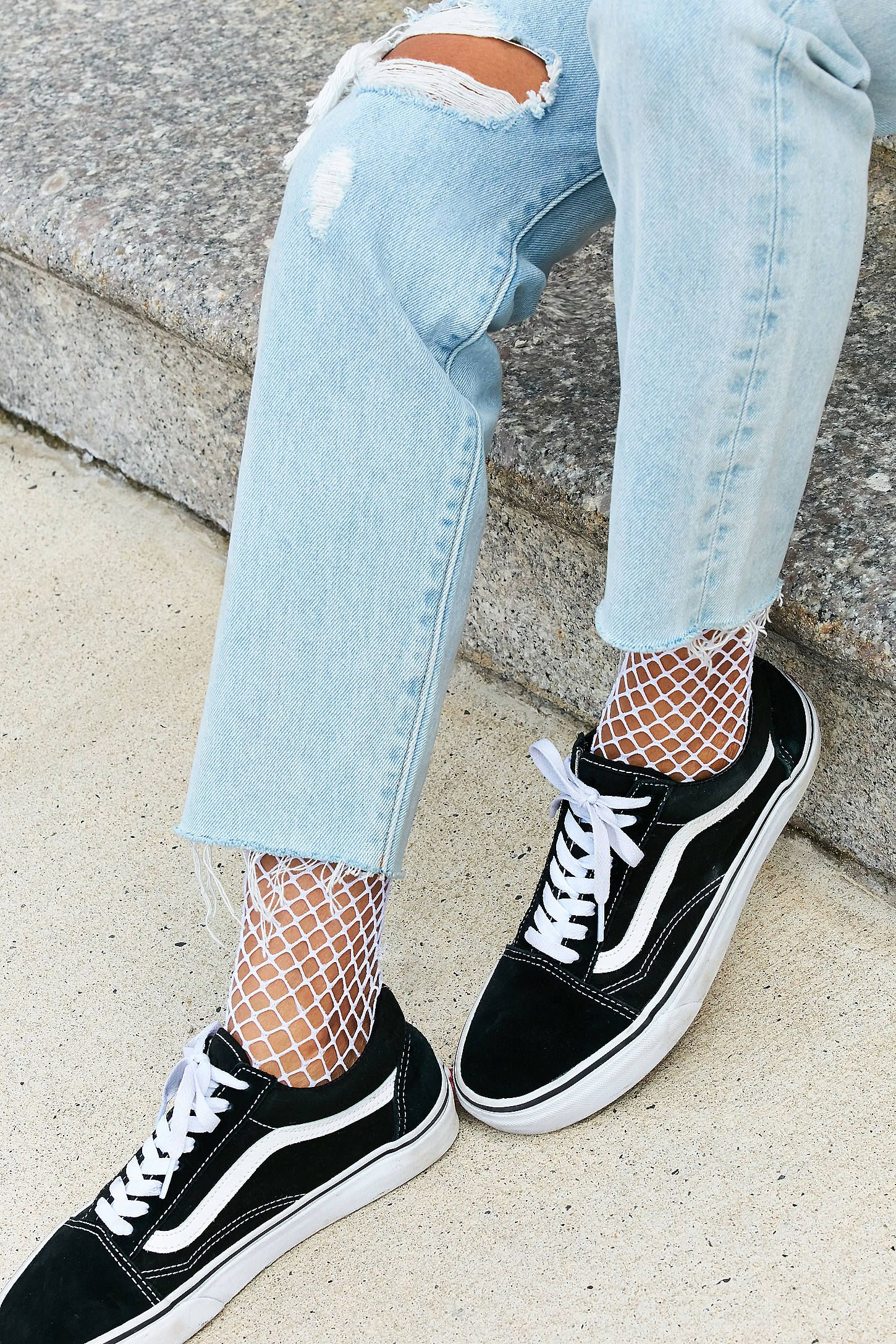 Crew socks outfit, Fishnet socks outfit