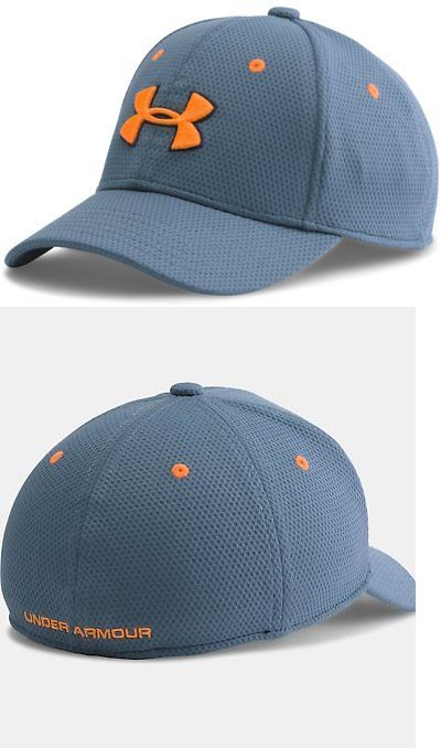 Hats 57884  Under Armour Boys Ua Blitzing Ii Stretch Fit Cap Small Medium  Slate Blue 68bf687f2c1