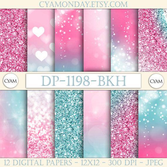5f880d2e9fe49 DP-1198-BKH Pink Blue Ombre Digital Paper Princess Queen Glitter ...