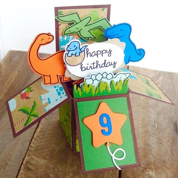Dinosaur Birthday Box Card Pop Up Greeting For Boys Handmade 3D Child Happy Dino Long Neck This