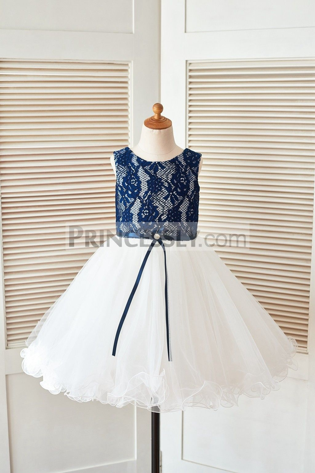 b8439763c Navy Blue Lace Ivory Tulle Wedding Flower Girl Dress with Curly Hem ...