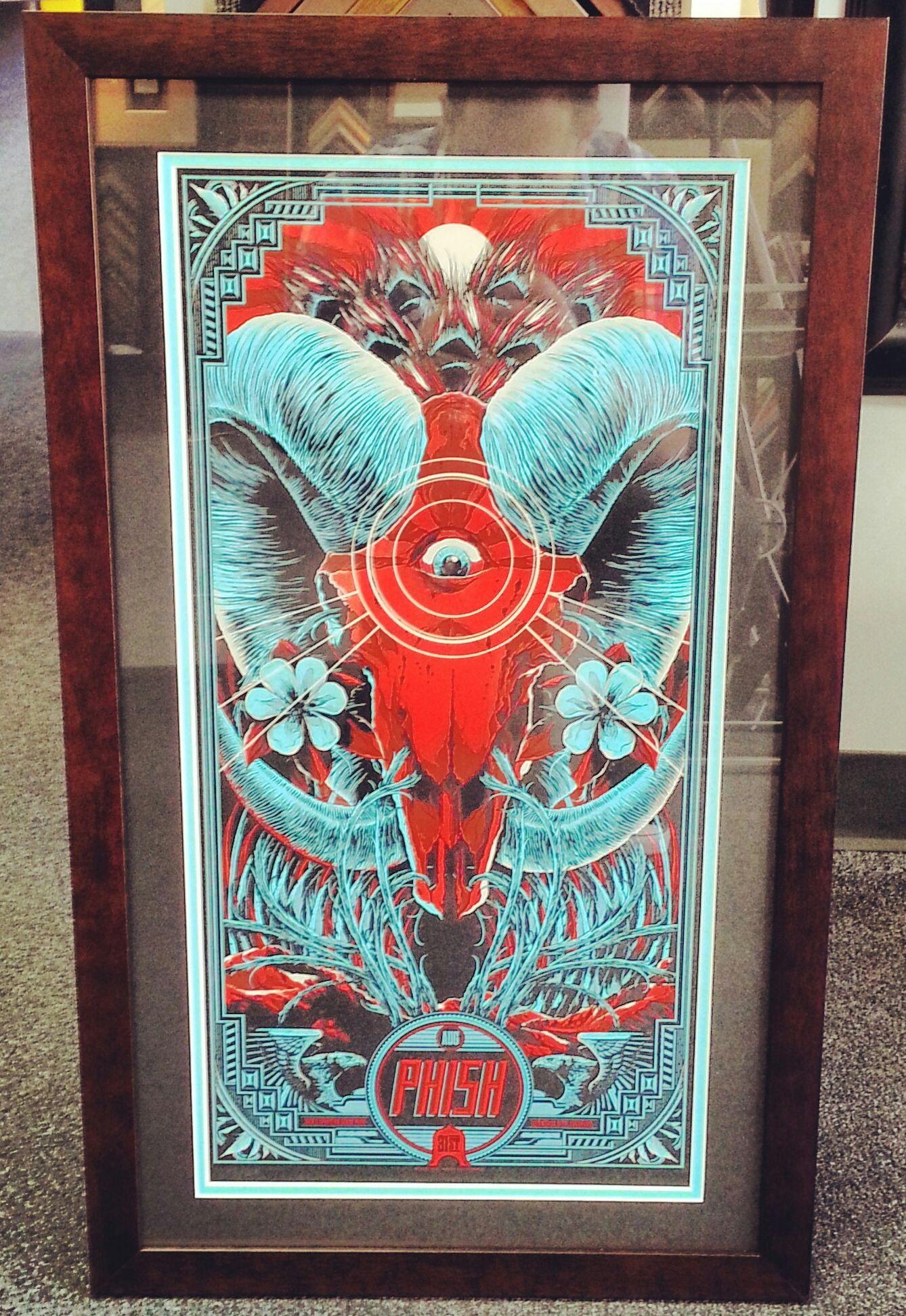 Custom framed Phish poster using black and turquoise acid-free mats ...