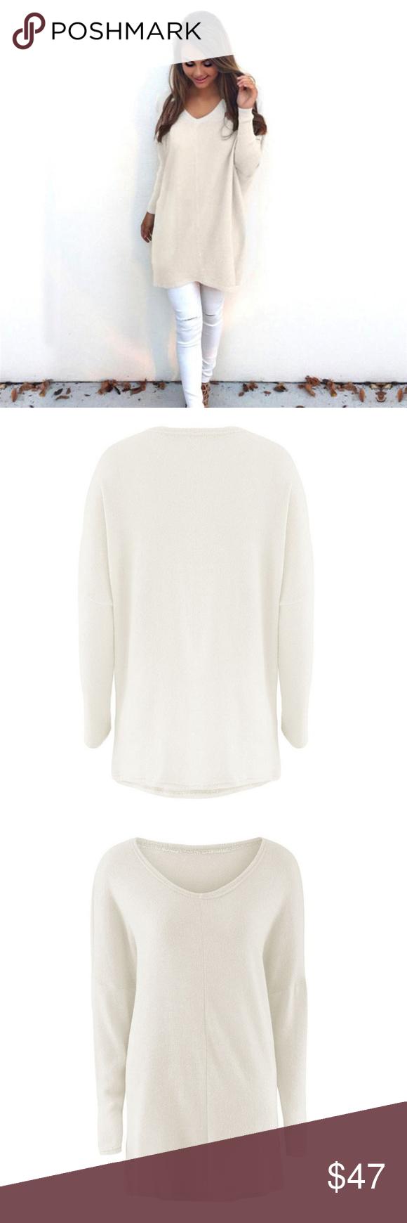 Oversized Beige V-Neck Sweater **2 LEFT**NWT Boutique