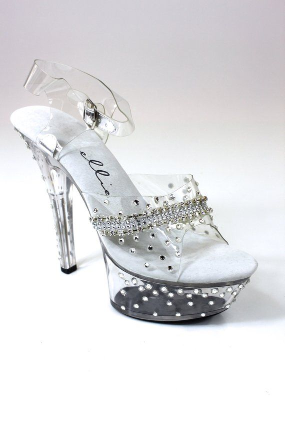 19e470386 601-Jewel by Ellie - 6 heel - platform clear rhinestone sandal - decorated  with crystal clear chain and rhinestones - Available in Size  5