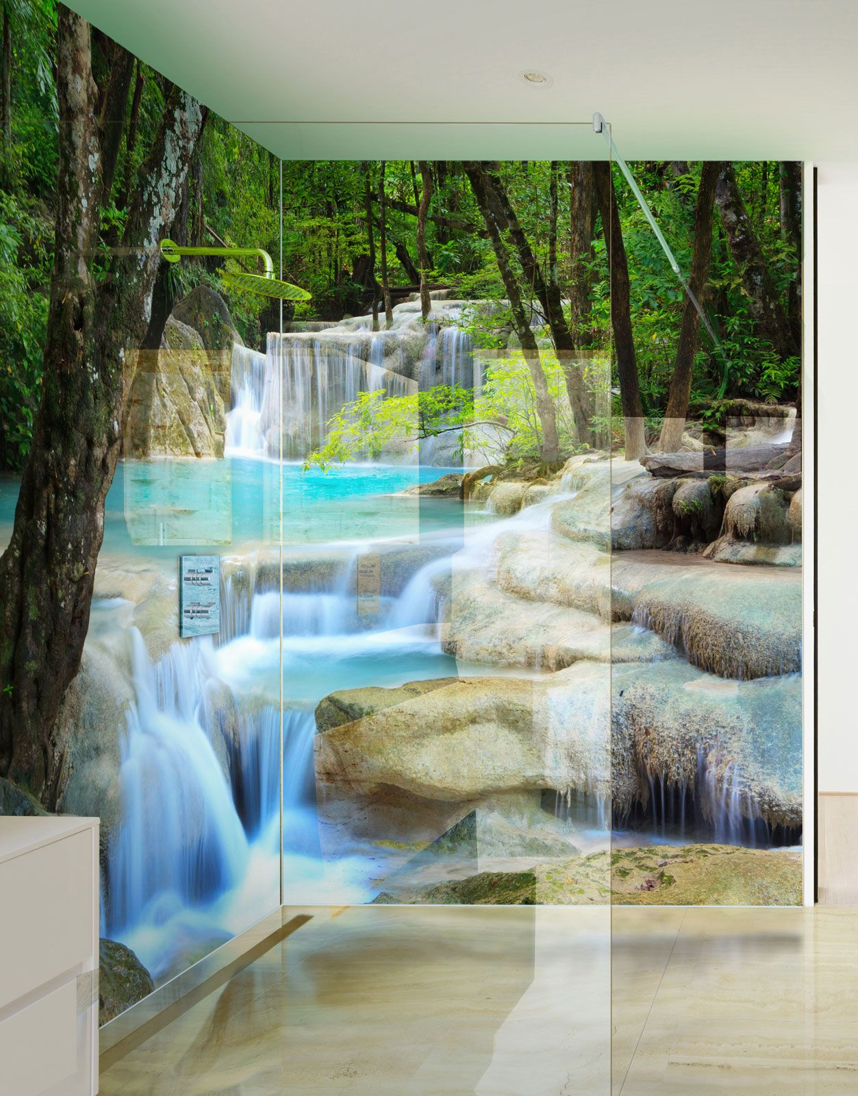 Cascading Waterfalls Acrylic Printed Picture Shower Panels Badezimmer Haus Baden