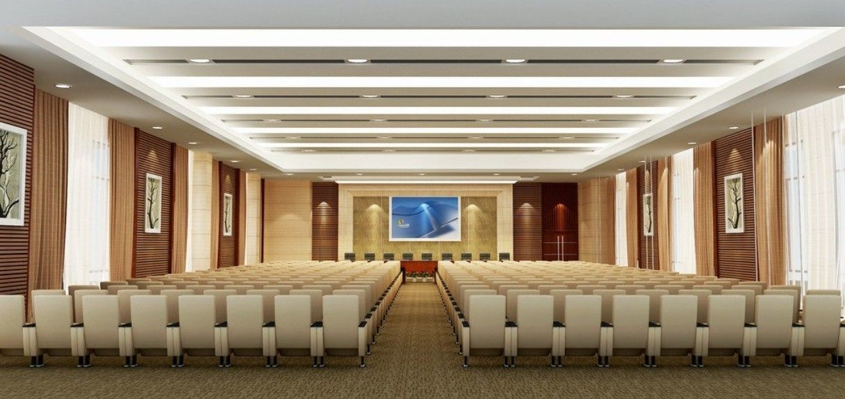 Wooden panelling with fabric designs for conference hall for Wooden hotel design