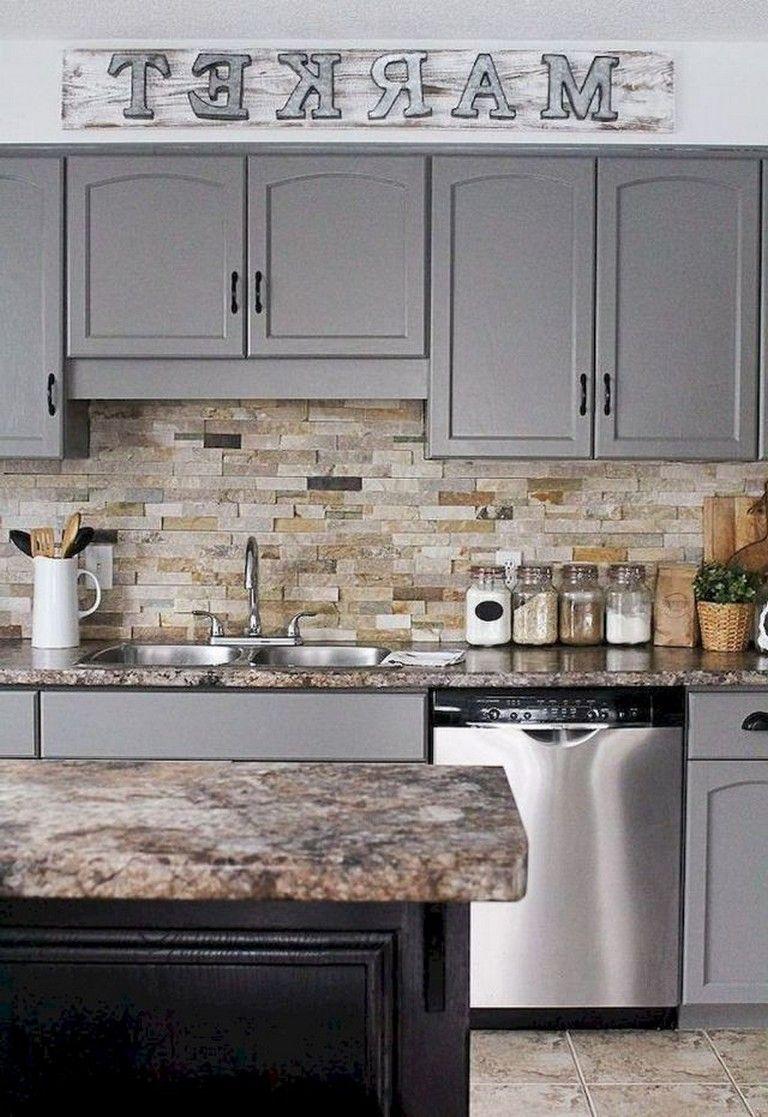 70 Amazing Farmhouse Gray Kitchen Cabinet Design Ideas Rustic Kitchen Cabinets Farmhouse Style Kitchen Cabinets Kitchen Cabinet Styles