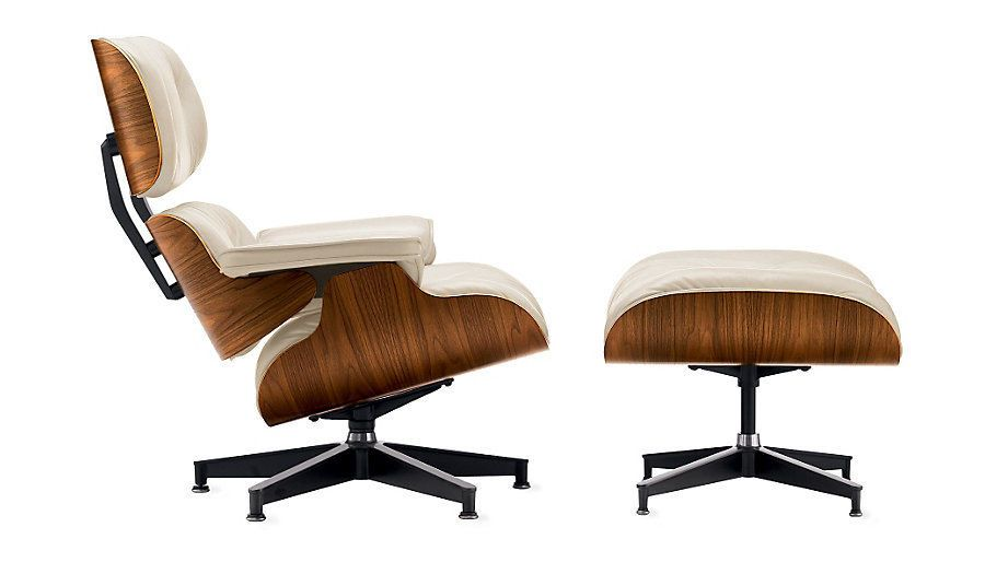 Incredible Herman Miller Eames Lounge Ottoman Ivory Leather Walnut Caraccident5 Cool Chair Designs And Ideas Caraccident5Info