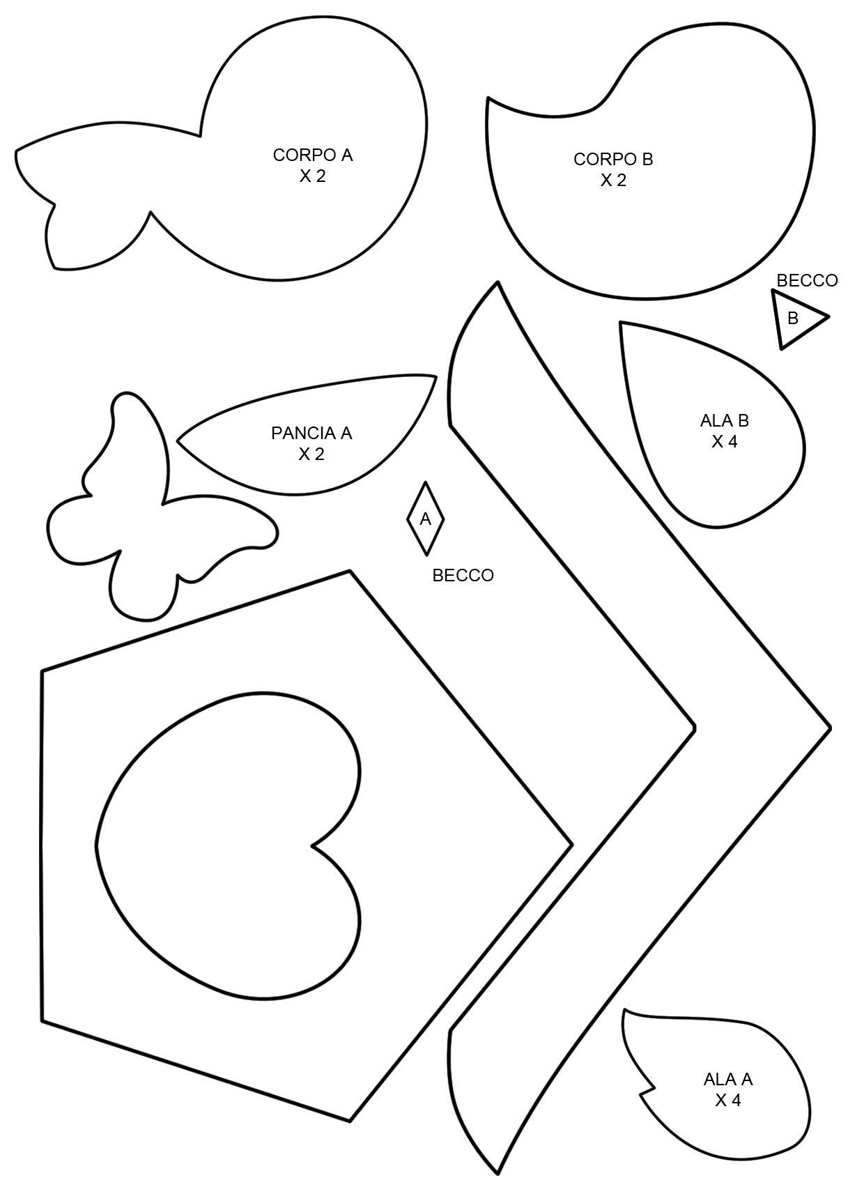 Photo of Motivo da stampare per creare una casa e due simpatici uccelli in feltro …