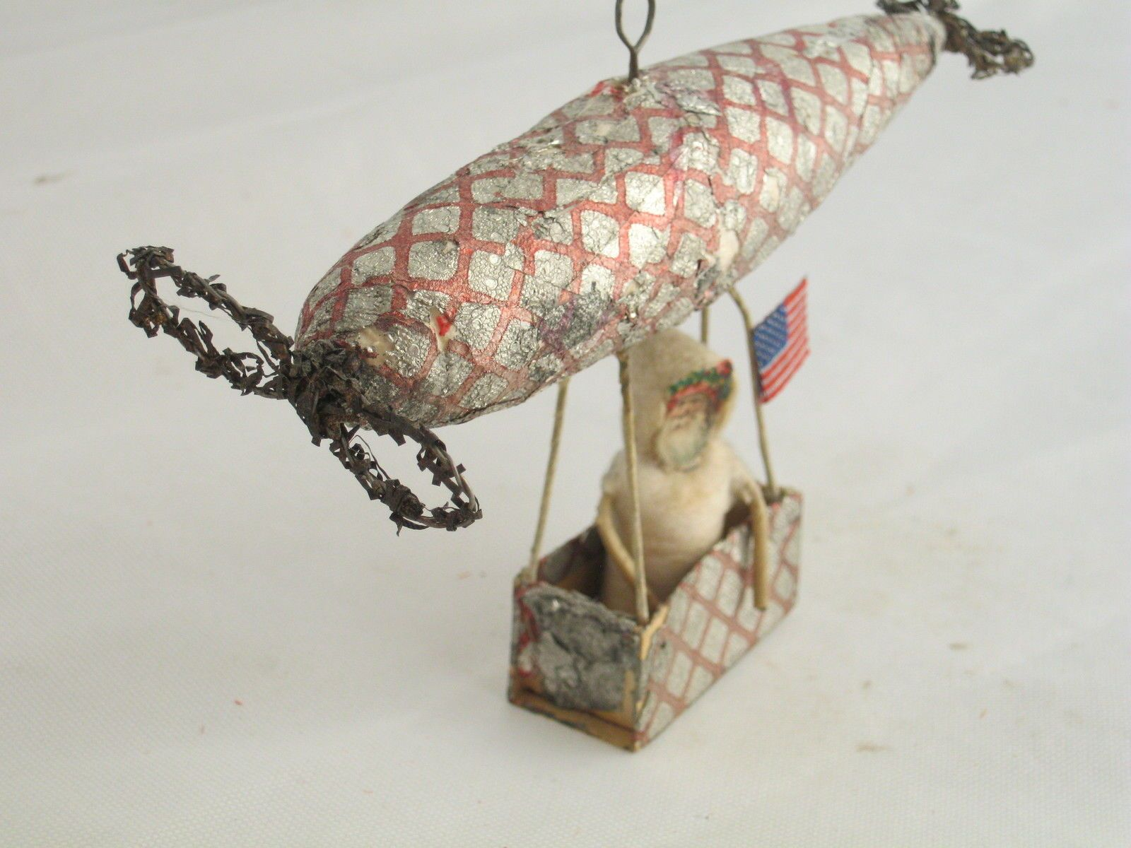 Antique christmas, zeplin, blimp dirgible, spun cotton, santa, flag ...