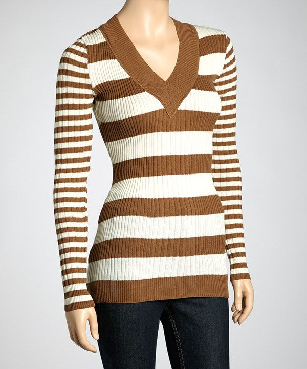 Light Brown & Off-White Stripe Sweater | Brown, Stripes and Look at