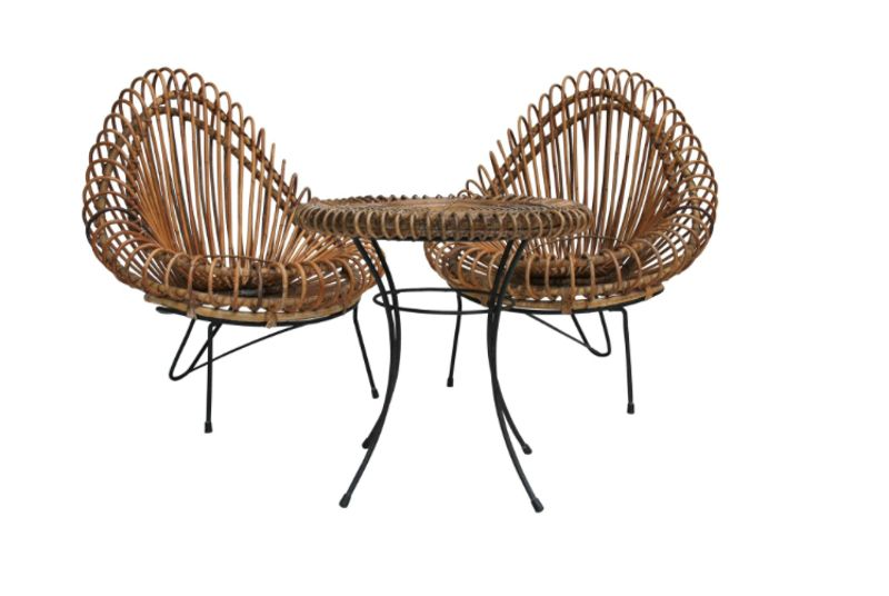 Janine Abraham and Dirk Jan Rol Basketware Lounge Chairs and Table