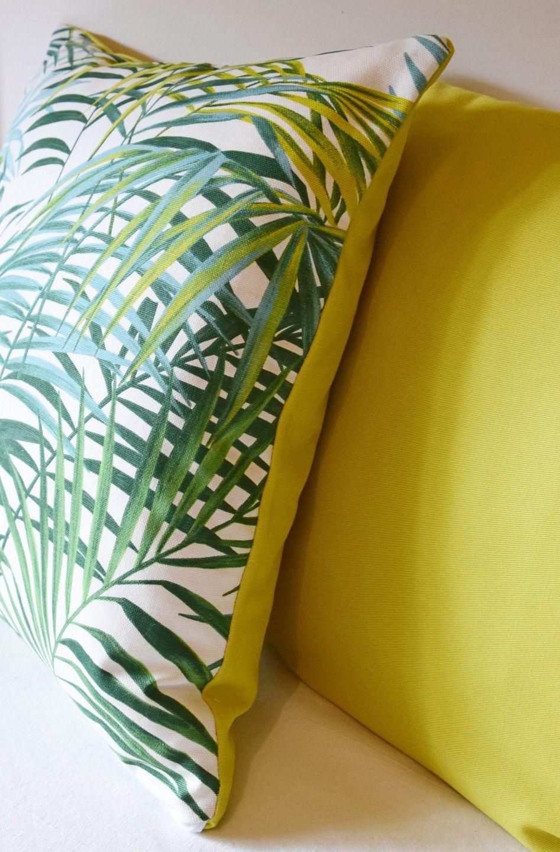 housse de coussin palmier tropical v g tal 40 x 40 cm verso vert v g tal jungle exotique. Black Bedroom Furniture Sets. Home Design Ideas