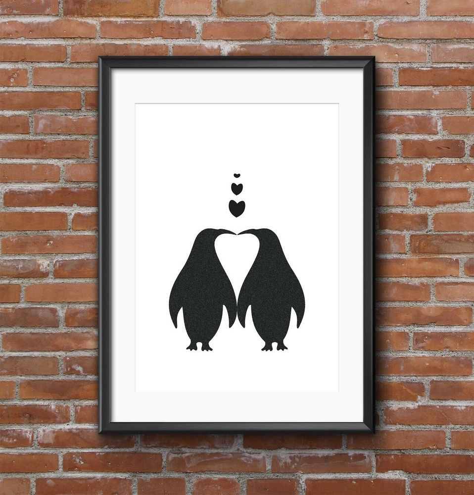 A print quirky penguins personalised wedding gift personalised