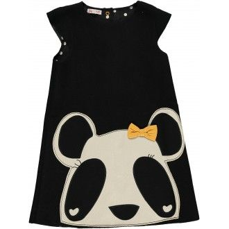 Panda dress polka dots polka black white girl french fashion dwustronna sukienka panda dziewczynka czarny biały