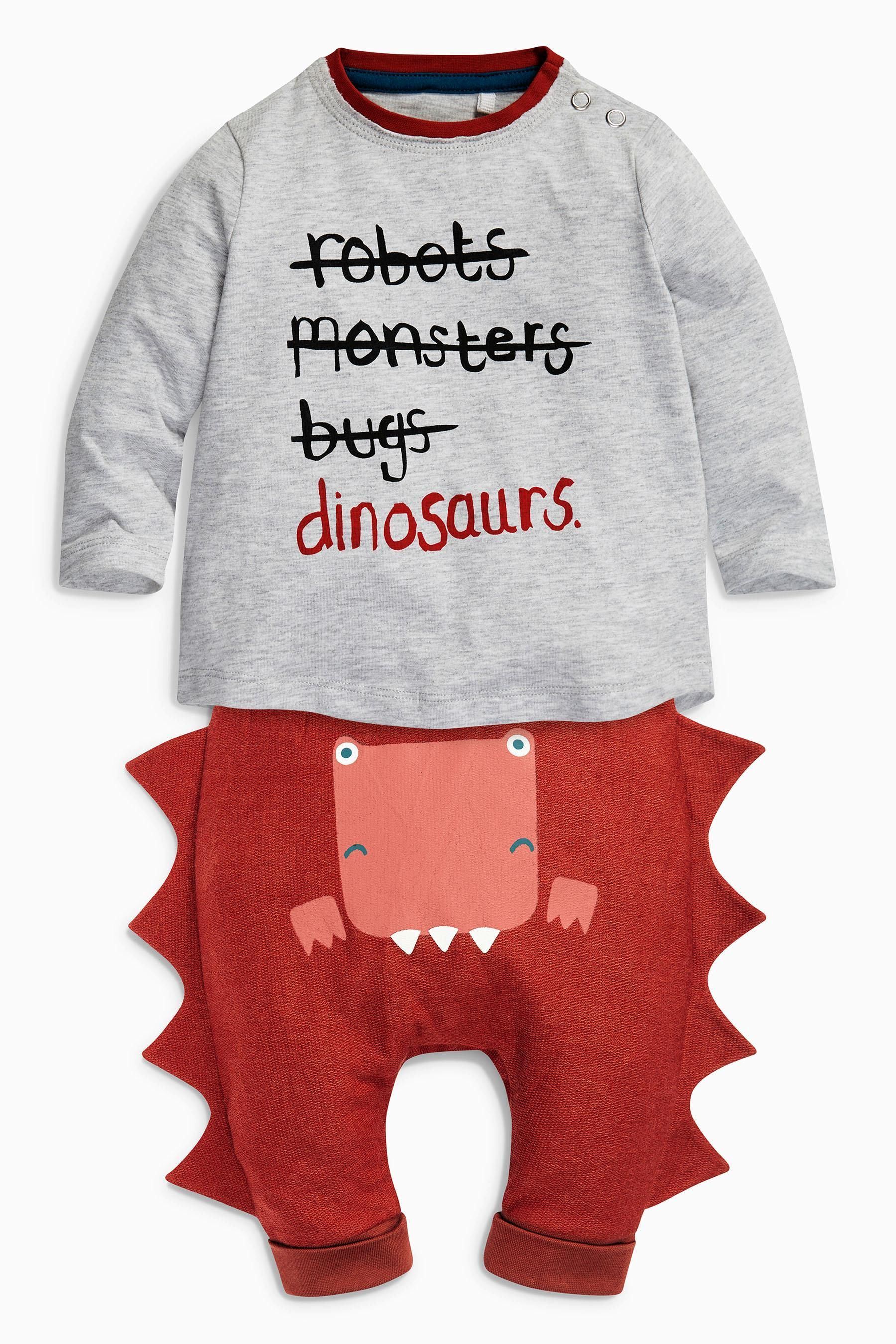 Buy Grey Red Slogan Dino Tops Two Pack 0mths 2yrs from the Next UK