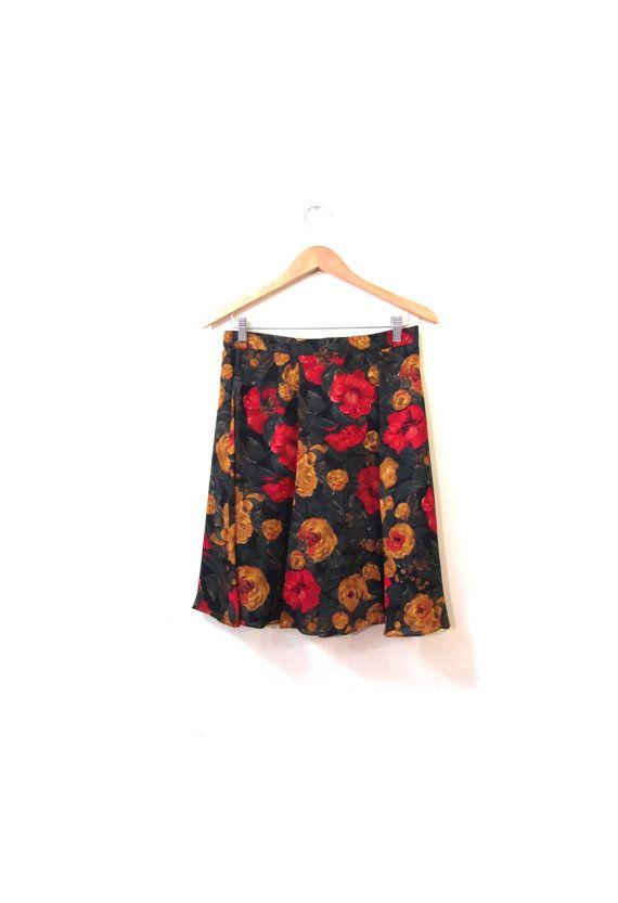Vintage 80s Flowy Floral ROSE Chiffon Mini by LapineOursVintage, $46.00