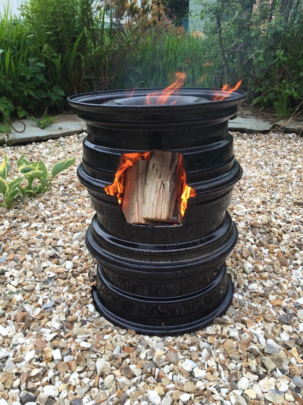 My old VW camper van wheels turned into a fire pit for my Yurt | fun ...