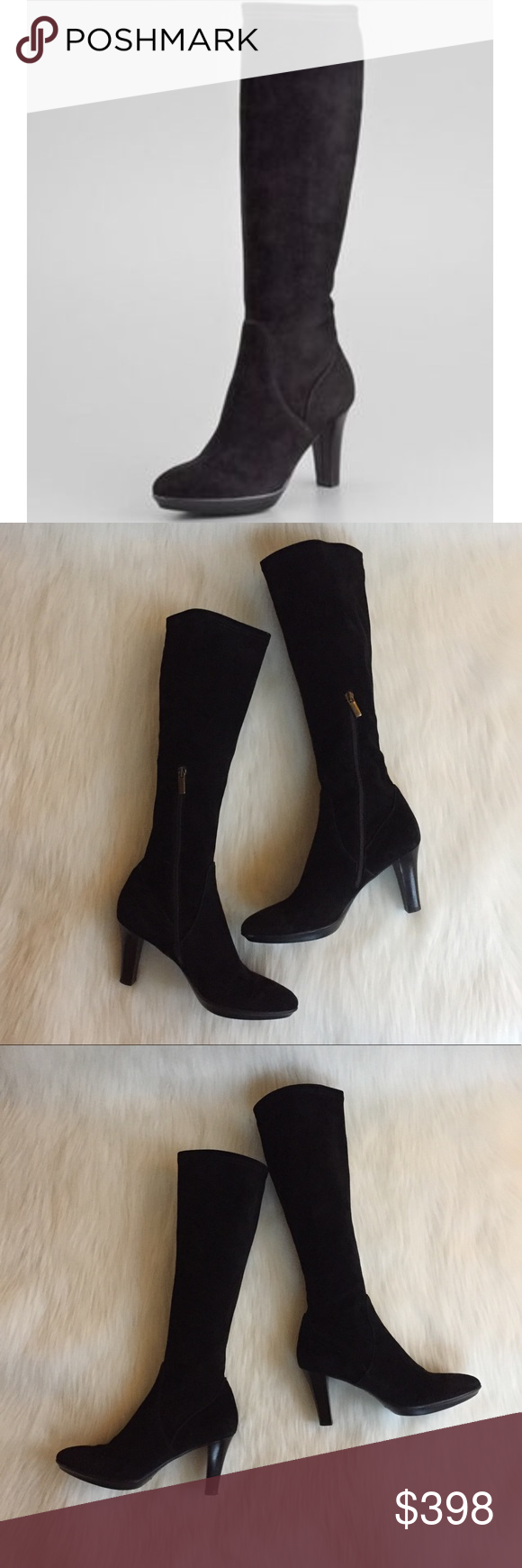 be910699145 Aquatalia by Marvin K. Rhumba Suede Tall Knee Boot Aquatalia by Marvin K.  Rhumba Stretch Black Suede Tall Knee Boot! Love these classic slender  profile ...