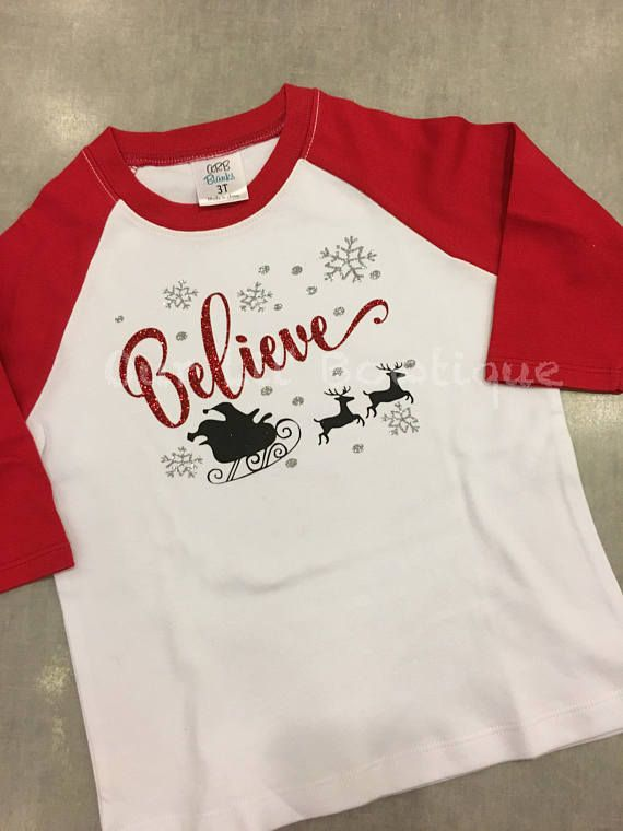 christmas shirt believe christmas shirt santas sleight personalized christmas shirt christmas raglan