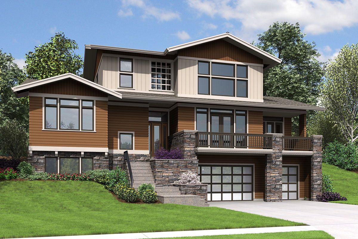 Plan 69649am Northwest House Plan With Drive Under Garage Sloping Lot House Plan Garage House Plans Contemporary House Plans