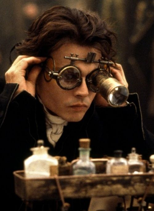 10bfb26c14f Johnny Depp as Ichabod Crane in  Sleepy Hollow.  I love the steampunk  goggles!