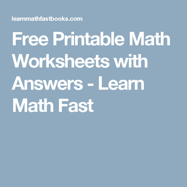Free Printable Math Worksheets with Answers - Learn Math Fast ...