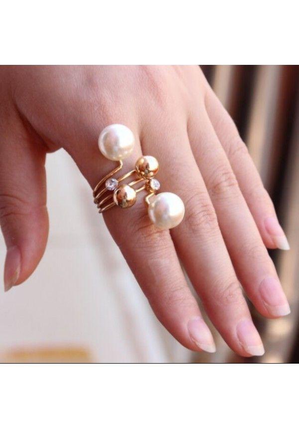 Anillo 18k oro joyería dos grandes perlas de imitación para mujer M1942 envió gratuito