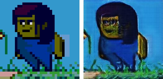 Training a deep learning network to convert pixel art