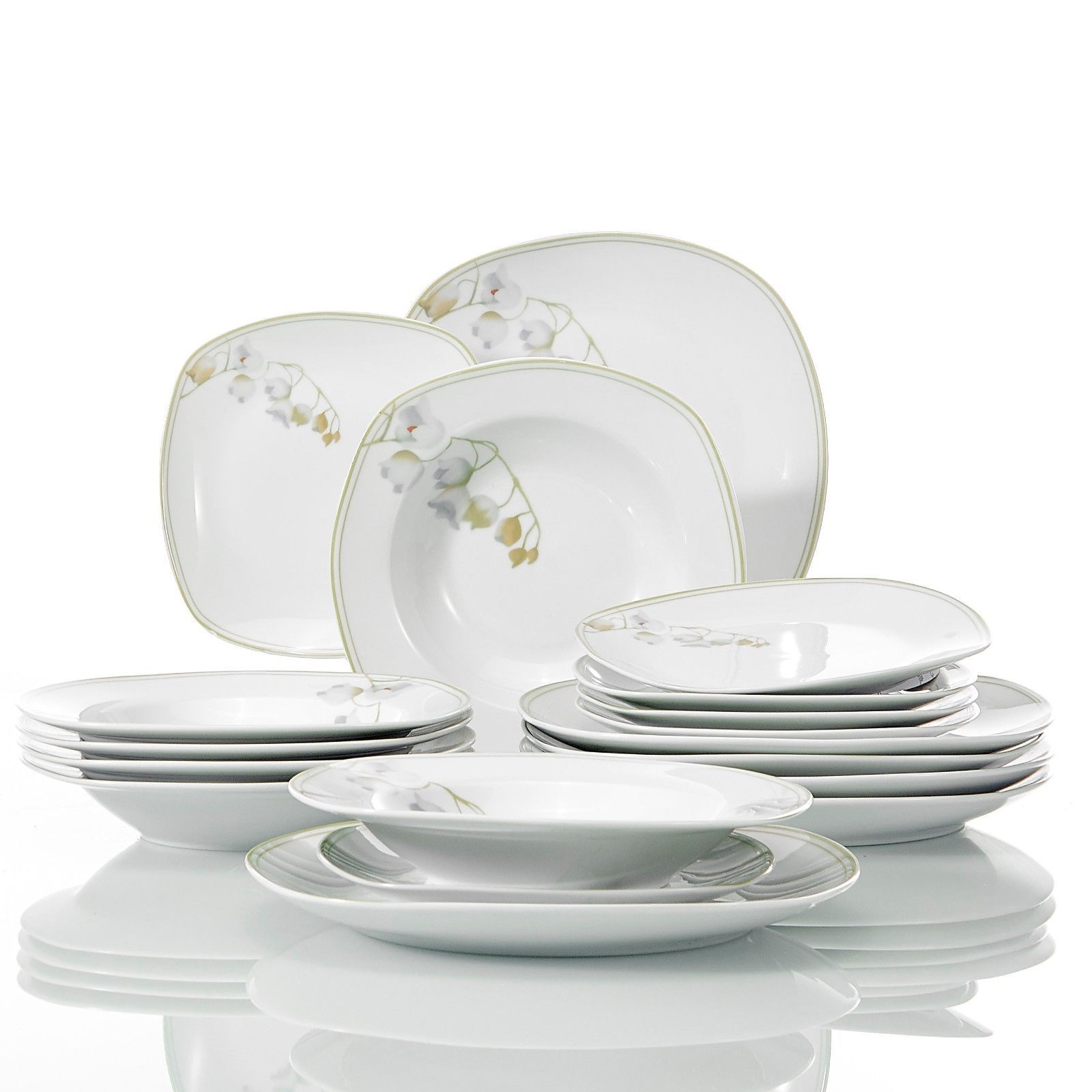 Veweet Nikita 30 Pieces Porcelain Dinner Set Tableware Soup Plate Cup Saucer 41 99 Tableware Dinner Sets Soup Dinner
