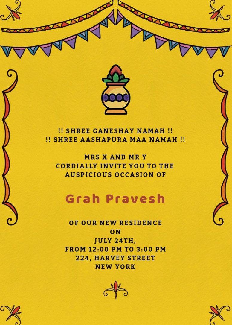 Invitation Card Vastu Shanti Pin On Corel Draw Edit Vastu