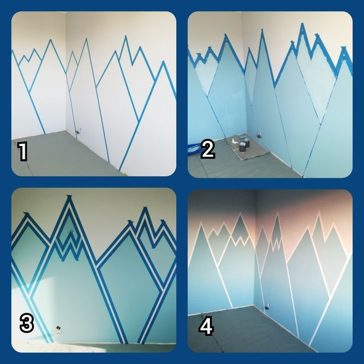 Wandmalerei Mountain mural DIY children room