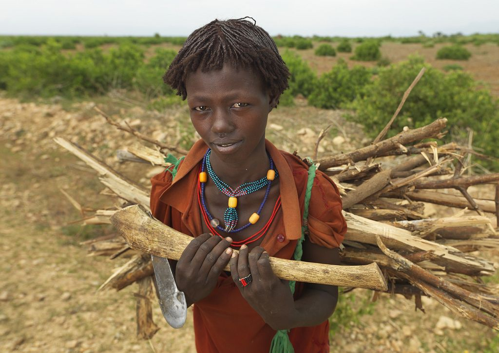 Hamer kid carrying wood - Ethiopia