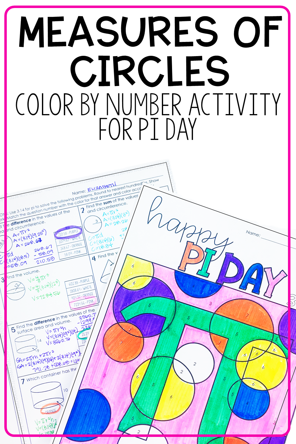 Pi Day Coloring Activity Area Circumference Surface Area Volume High School Math Activities Color Activities 9th Grade Math [ 1440 x 960 Pixel ]