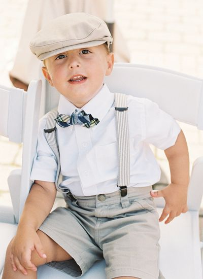 little gent in suspenders a bow tie Adam Barnes wedding