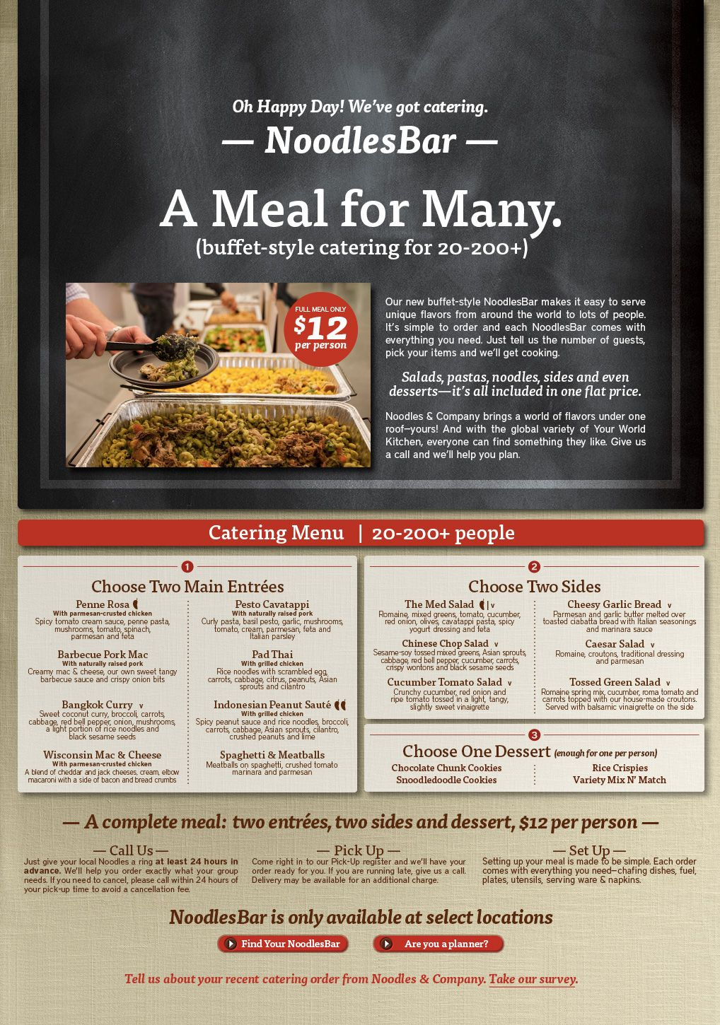 photo relating to Noodles and Company Printable Menu titled Catering Food items-spicy, mouth watering, vegetarian and further Noodles