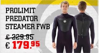 De Prolimit Predator is 5 mm dik en een zeer soepel surfpak.