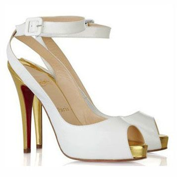 3fb7e0357271 White The Privitita Never Worn Patent Leather Peep Toe Gold Heel. Pumps