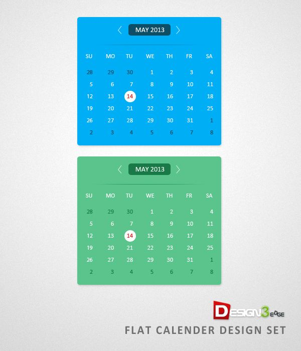 Flat Calendar Design Template Psd Calendar Designs Pinterest