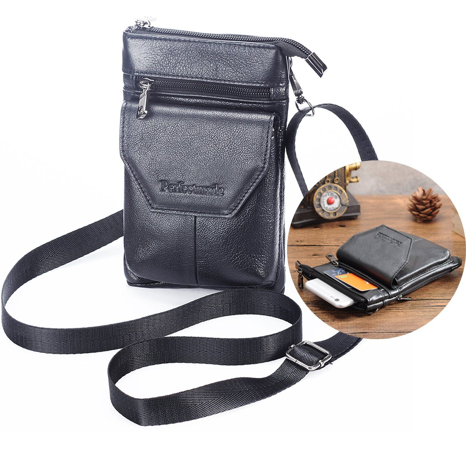 Cell phone crossbody purse iphone 7 plus pouch with belt