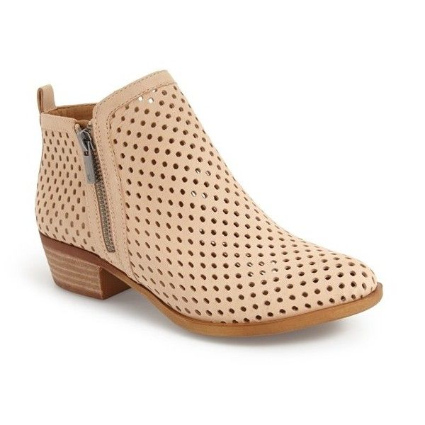 """Lucky Brand 'Basel' Perforated Bootie, 1 1/2"""" heel (505 QAR) ❤ liked on Polyvore featuring shoes, boots, ankle booties, ankle boots, bisque suede, lucky brand boots, leather boots, ankle cowboy boots, short boots and ankle cowgirl boots"""