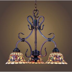 Westmore Lighting 3 Light Tiffany Buckingham Vintage Antique Chandelier