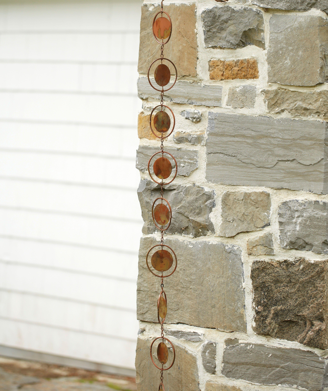 Circle Flamed Rain Chain Set Of 1 Rain Chain Beautiful Rain Chains Metal Garden Art