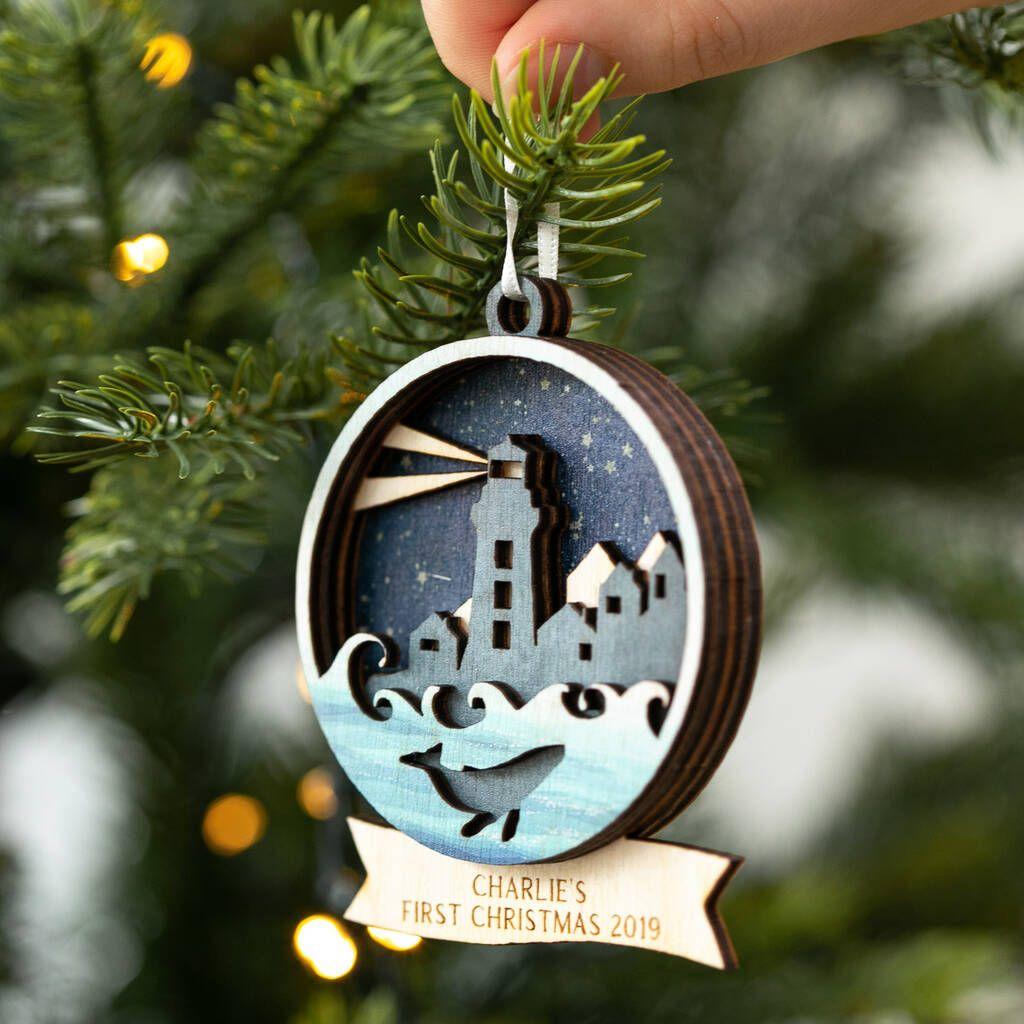 Personalised Birchwood Christmas Tree Decoration Bauble Christmas Train
