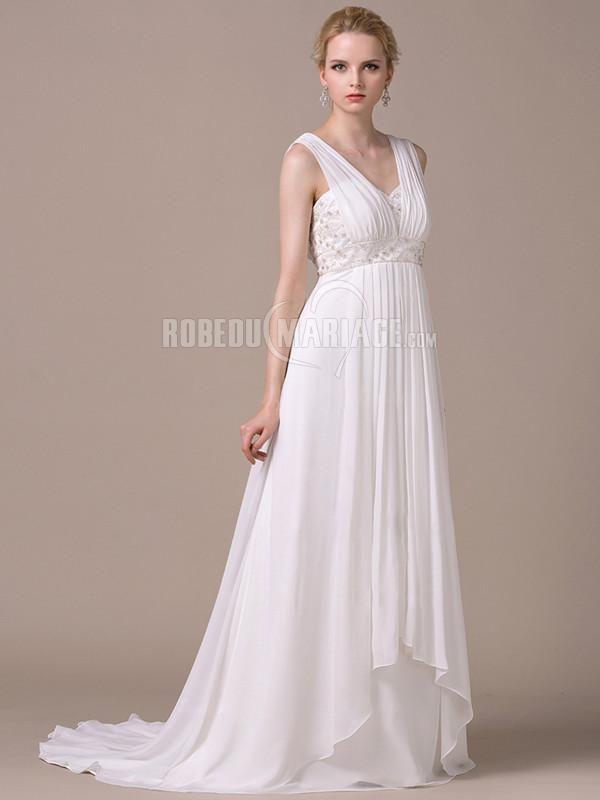 bc593d302fa Simple robe de mariée ornée de broderie robe en satin avec bretelles    ROBE2013130