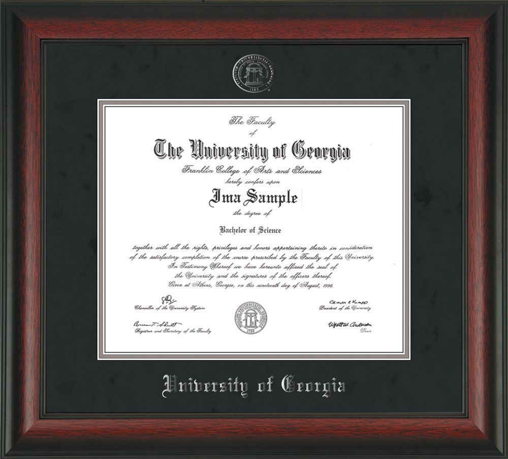 University of Georgia Diploma Frame - Rosewood - w/Embossed Seal ...