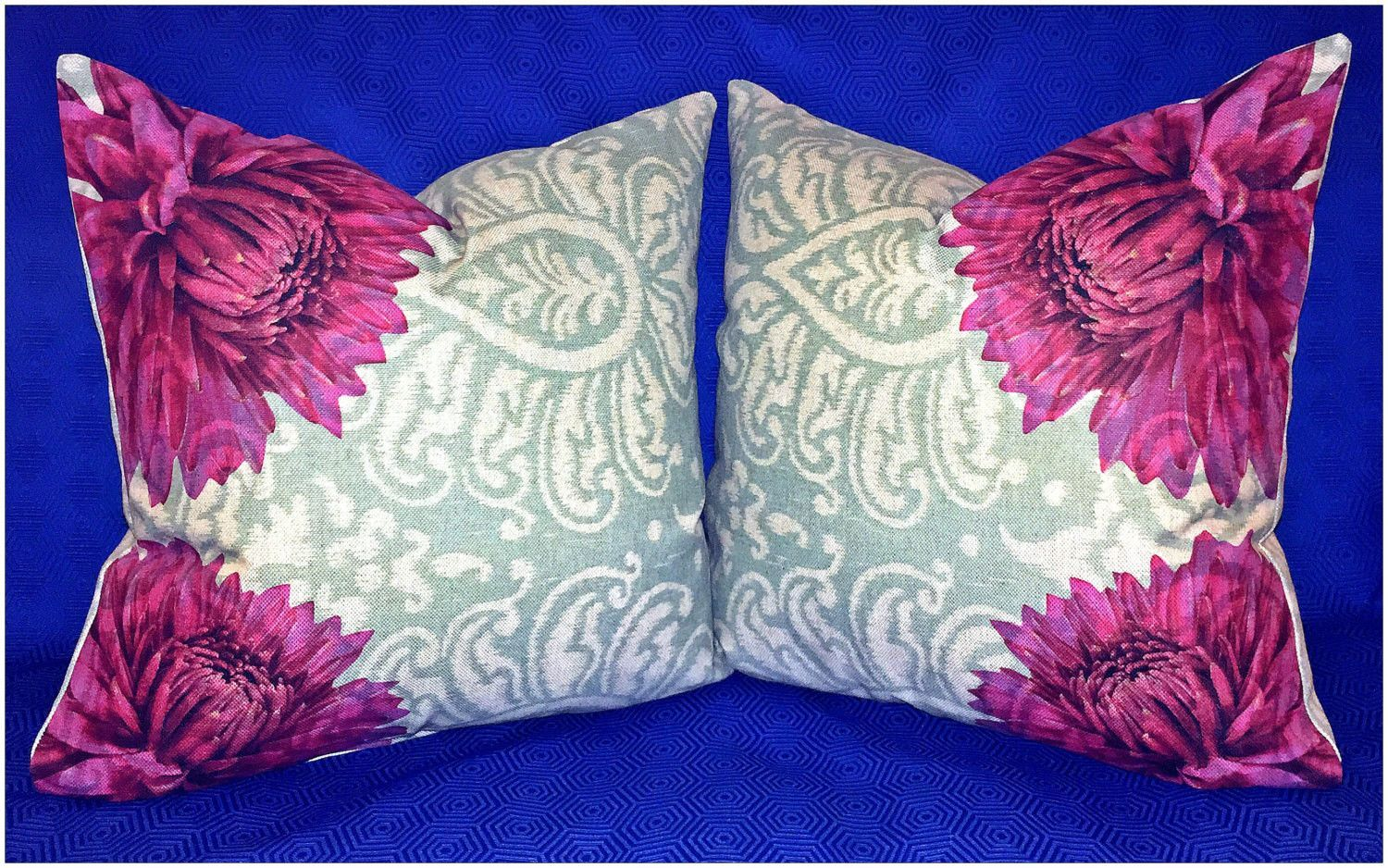 Large burgundy red dahlia decorative throw pillow cover, 22x22 inches on light blue and beige designer tapestry fabric