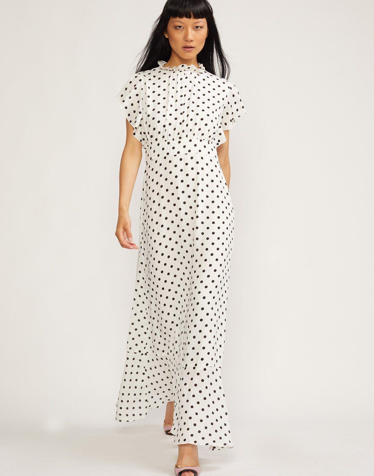 3d95208590df32 Cynthia Rowley Talia maxi dress in polka dot print.