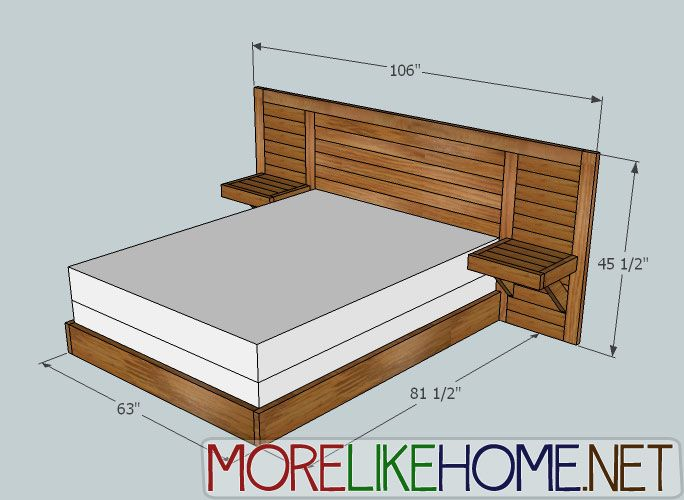 2x4 Simple Modern Bed With Images Diy Wood Headboard