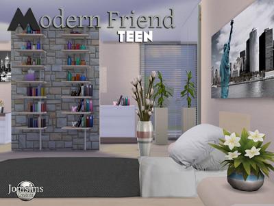 My Sims 4 Blog: Modern Friend Teen Bedroom Set by JomSims